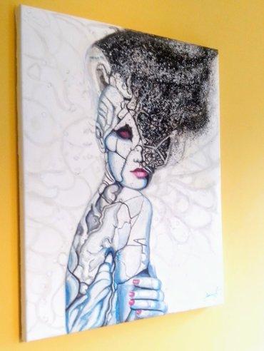 Slika `distorzija misli` radjena je uljem na platnu, dimenzije 50 x 40 - Beograd