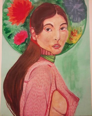 portret - Azərbaycan: Цветочная шляпа. Tablo . Guaj / gouache portret . A3