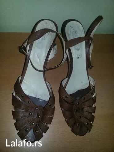 Udobne kozne sandale sa koznim djonom br:40 (26.5cm)visina pete: 9cm - Novi Sad