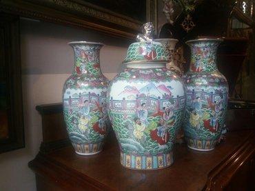 Set par porcelanskih vaza i cup sa poklopcem,rucno oslikane,visina - Belgrade