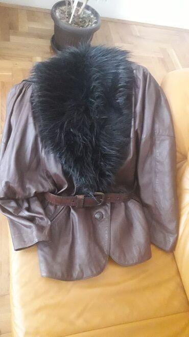 Kozna jakna sa krznom - Srbija: Braon kozna jakna, vel xl, bez ostecenja, sa krznom oko vrata koje se