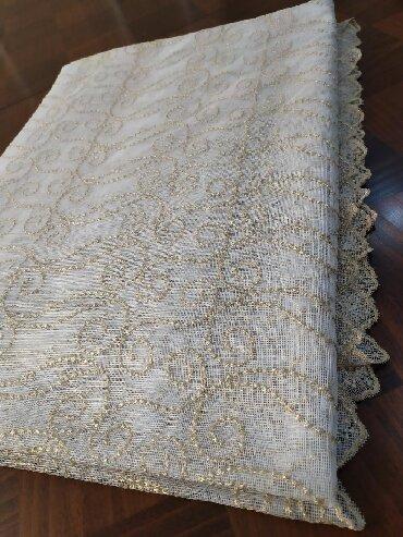 Текстиль - Кыргызстан: Красивый турецкий сеточный тюль. Вышитос люриксовыми-золотыми нитями