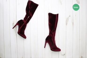 Жіночі високі чоботи на підборі, р. 40   Матеріал: бархат Колір: вишне