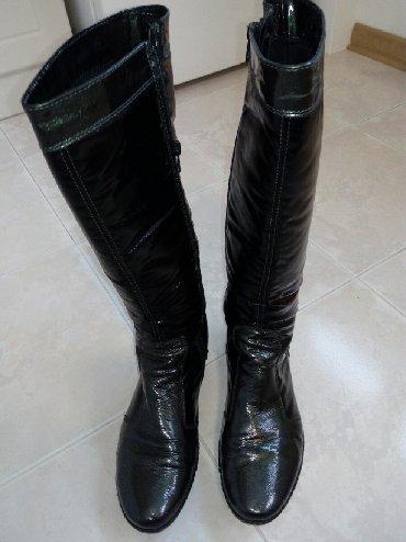 Cm obim tamno sive - Srbija: Cizme zenske,Laura Biagiotti,lak koza sivo crna kombinacija,velicina