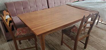 бу мебель in Кыргызстан | ДРУГАЯ МЕБЕЛЬ: 2 Стола и 6 стульчиков. дерево орех. Каждый стол:Длинна - 163