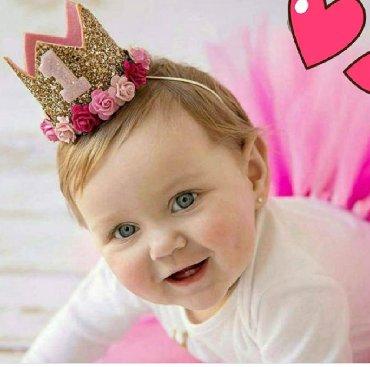 вязаные вещи для детей в Кыргызстан: Повязки на голову-корона(золото,розовый) Блестящая корона с цветами и