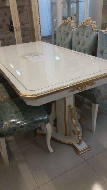 стол цвет венге в Азербайджан: Стол новый . Белый цвет с, золотым декором. Размер1050×2000×2400