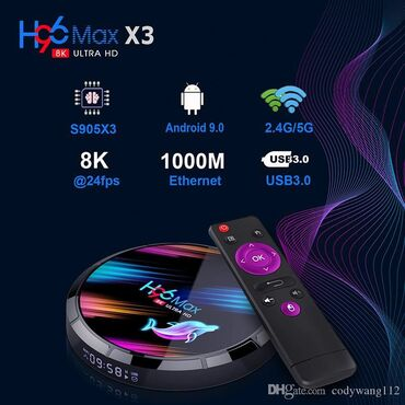 Original Tv Box H96 max. Android sistem. 4GB ram - 32GB yaddaş