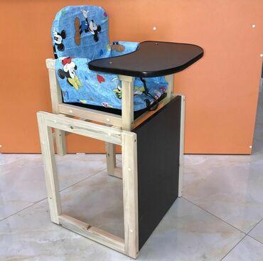 Детская мебель - Цвет: Белый - Бишкек: Стульчик детский для кормления трансформерОтличное качество сделан