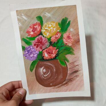"""Рисунок """"Цветы на вазе""""Картина подарок для души!Самый креативный и"""