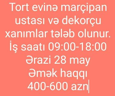 rulevoy ustasi - Azərbaycan: Aşpaz Qənnadıçı. Təcrübəli. Fast food. Montin r-nu