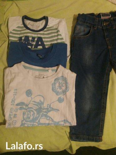 Paket.. Novo decije farmerice i tri majice sa kratkim rukavima za - Vrnjacka Banja