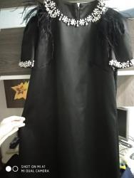 вечерне коктейльное платье в Кыргызстан: Платье вечернее коктельное с камнями и перьями.одето один раз.из