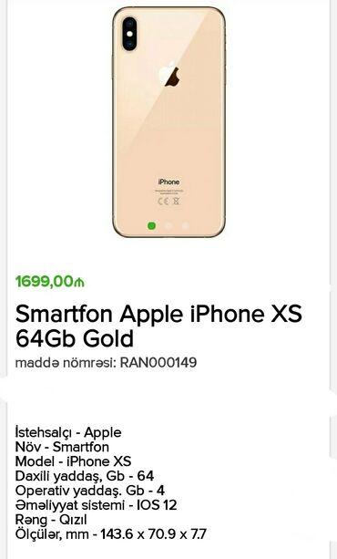 iphone 5 gold - Azərbaycan: Yeni iPhone Xs 64 GB Qızılı