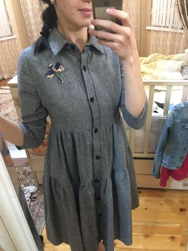 платье для кормящих в Кыргызстан: Платье рубашка отлично подойдёт для беременных и кормящих мам