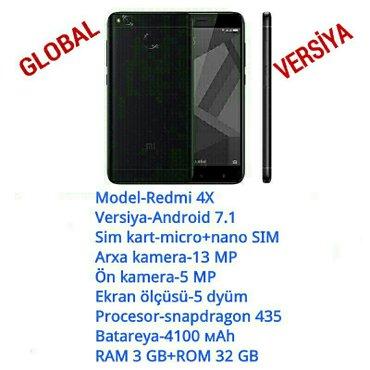 Bakı şəhərində Xiaomi redmi 4x qara rəng 3 gb ram 32 gb rom