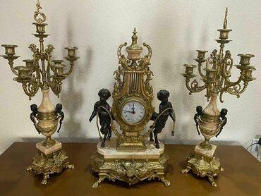 Əntiq saatlar - Azərbaycan: İtaliya istehsali qizili şamdan ve saat, qizili rengde