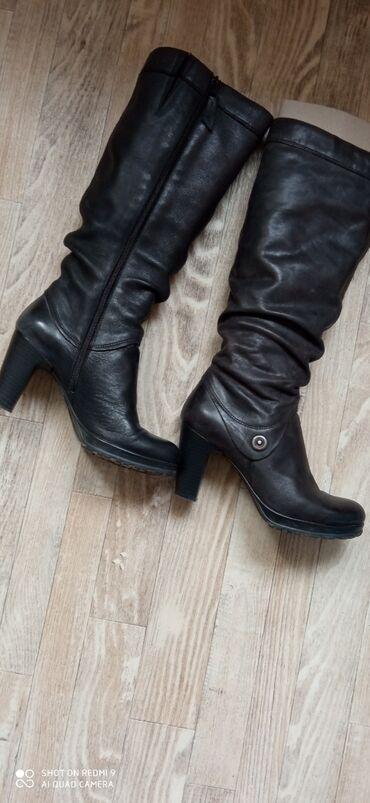 Pamuk sa elastinom udobn - Srbija: Izuzetno očuvane kožne,tamno sive čizme sa manjom