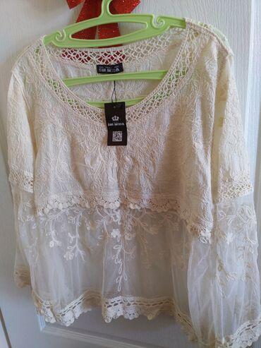 Zenska bluza,vez,lan,til. M velicina,Novo