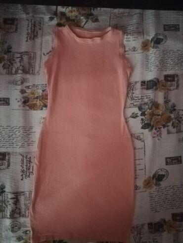 Šivena pamučna haljina, boja kajsije