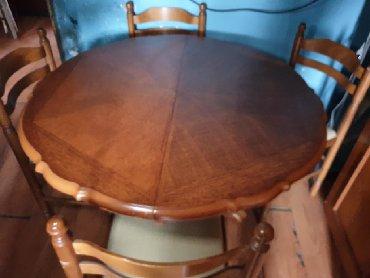 Trepezariski stol sa 4 stolice od drveta lep i ocuvan
