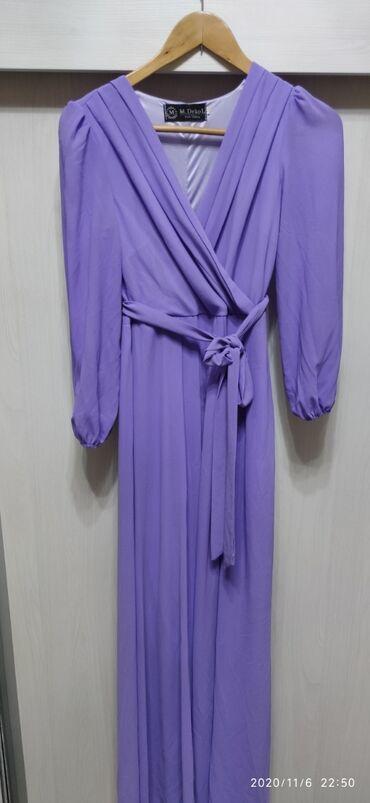 фиолетовое платье в пол в Кыргызстан: Продаю платье в пол шифон размер М отдам за 1000 сом тел