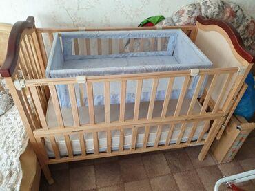 бу детские кроватки в Кыргызстан: Детская кроватка вместе с матрасом Лина. Сбоку кроватки раздвижной