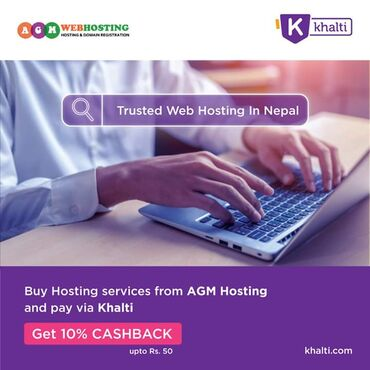 Pay via khalti and get 10% cashback Easily access to web hosting