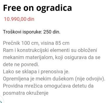 Ogradica za bebe i decu, koriscena samo za odlaganje igracaka, bez - Beograd