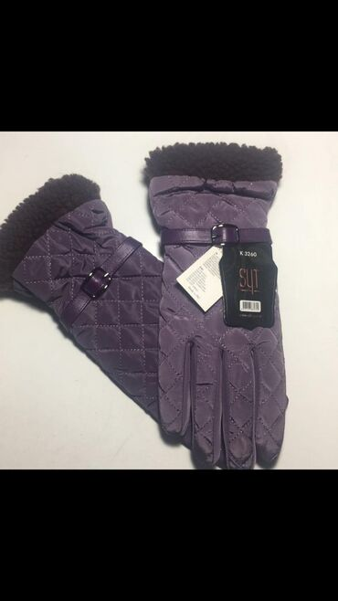 Перчатки женские теплые турецкие двойные, снаружи непромокаемые