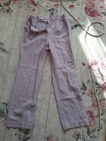 Nove(skinuta etiketa) lanene bledoljubicaste pantalone veličine 38 - Zajecar
