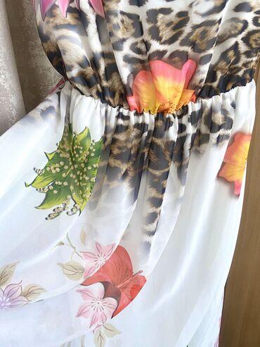 платье резинка трикотаж в Кыргызстан: Летнее, яркое платье, шёлк, длинное, на трикотажном подкладе