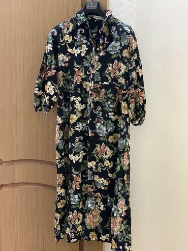 платье миди в Кыргызстан: Красивое цветочное платье Mango,длина миди,рукав 3/4