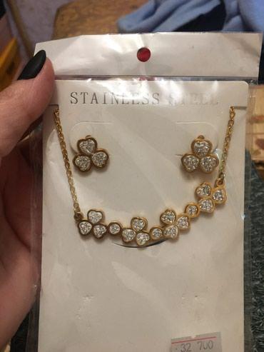 Свадебные аксессуары - Кыргызстан: Комлект (ожерелье и сергьги) сталь. Новая. 300с