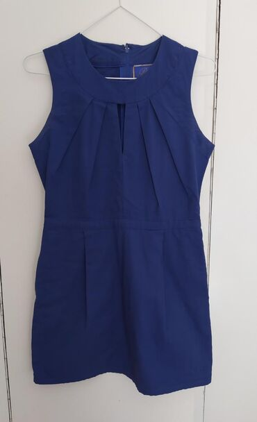 PEPE JEANS μπλε-ρουα φορεμα, με φερμουαρ στην πλατη και ιδιαιτερο