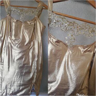Mantil svecani - Srbija: Nova sivena zlatna haljina puna elastina odgovara vel xl svecana