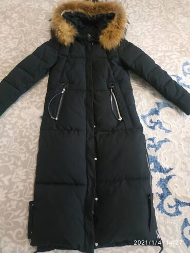 Купить кара - Кыргызстан: Шикарный пуховик новый длина ниже колена, размер М, натуральный мех к