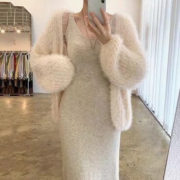 Нежный образ на зиму  Кардиган  Платье