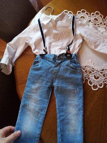 Dečije Farmerke i Pantalone   Kragujevac: Kompletic košulja pantalonice i tregeri za bebu(dečaka) od 12 meseci