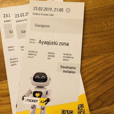 Bakı şəhərində Gazapizm konsertine bilet 3 eded 23 fevral da olacak konsert 1 ededi