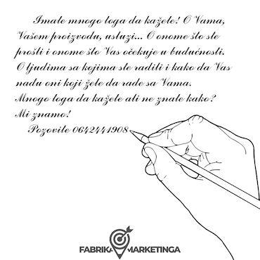 Reklamiranje, štampanje - Srbija: Copy writting Pisanje tekstova oglasa, uputstava, slogana, protokola
