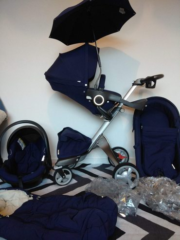 Stokke Xplory deep v4 blue road system car seat carrying crib seat in Kathmandu