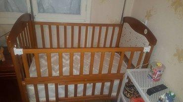 детская кроватка в идеальном состоянии с люлькой и шатром матрац Лина в Бишкек