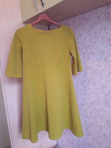 Платье трапеция. Плотная ткань. Платье холодного цвета. Качество
