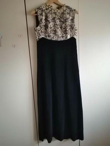 Ženska odeća | Negotin: Maxi haljina, prelepa, zlatno plava od pliša sa ukrasima oko vrata, sa