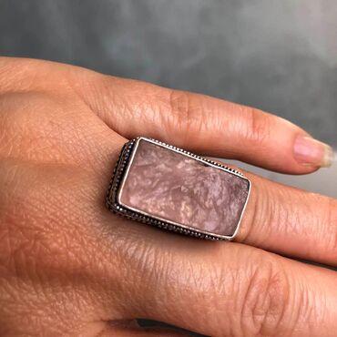 Privezak-srebro - Srbija: Prsten ROZEN KVARC.Prelep neobradjen kamen kristal.Utisnut zig za