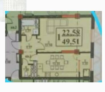 продается 1 комнатная квартира в бишкеке в Кыргызстан: 1 комната, 49 кв. м