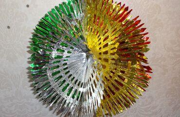 цветы для украшения в Кыргызстан: Объёмная цветная снежинка - новогоднее украшение, диаметр 40 см