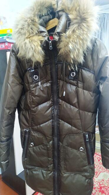 Настоящий женский пуховик пальто, размер 46-48 Натуральная мехВнутри