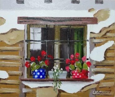 Kuća i bašta | Lebane: Muskatle Ulje na platnu, spahtla, blind ram 35x30, sliku kupujete